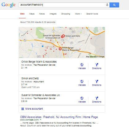 Google Local Search 3 Pack Example