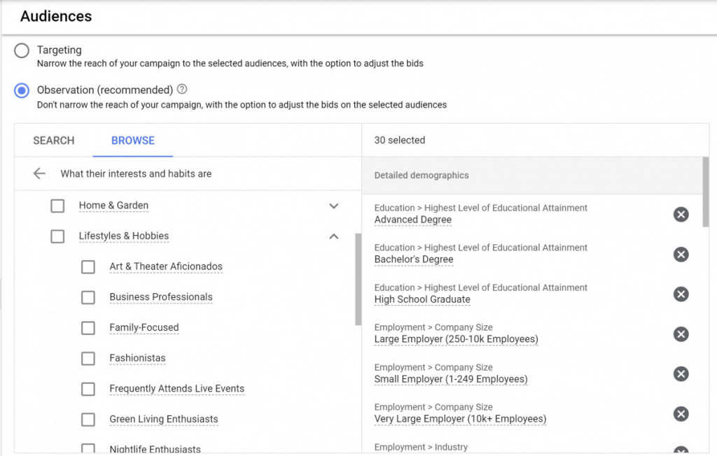 Audiences Example Google Ads