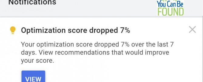 Optimization Score Dropped Google Ads